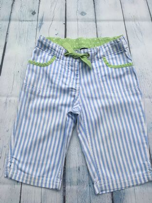 Mini Boden blue and white striped long shorts age 4-5